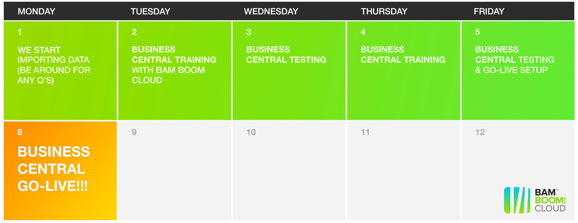 Your KickStart Calendar - switch to Business Central in just one week with Bam Boom Cloud!