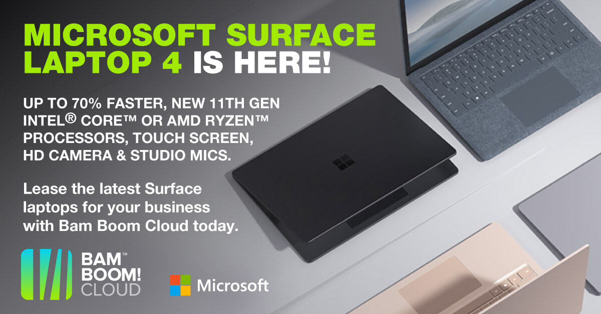 Lease the stunning new Microsoft Surface Laptop 4 now from Bam Boom Cloud.